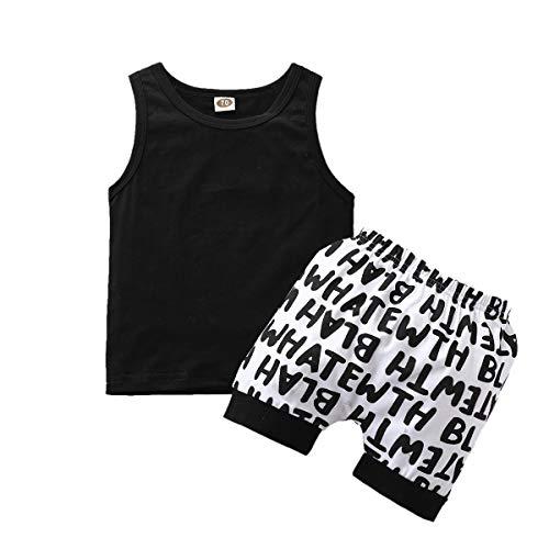 Ropa para Bebé Recién Nacido Niño Blanco Negro Conjunto para Niño de Verano Camiseta sin Mangas y Pantalones Cortos para Verano Casual (Negro, 100)