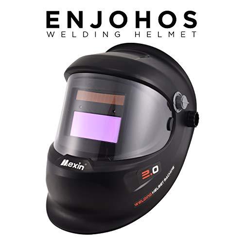 ENJOHOS Schweißhelm, Tacklife PAH04D Automatik Schweißhelm mit 4 Sensoren, Optische Klasse: 1/1/1/1, Solar Schweißmaske (Schwarz großer Bildschirm)