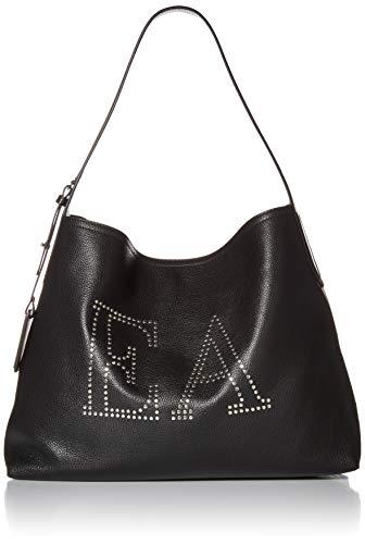 Emporio Armani Damen Designer Leather Hobo Bag Embellished With EA Logo Umhängetasche, schwarz, Einheitsgröße