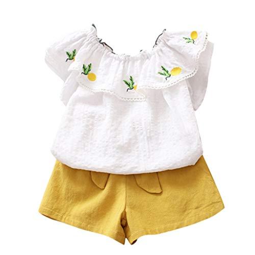 Kinder Mädchen Blumen Aus der Schulter Ananas T-Shirt Tops und Kurz Hose Set