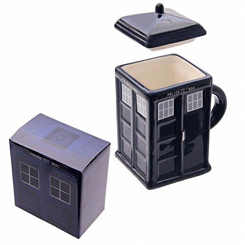 Keramik quadratisch Police Box DR WHO TARDIS Becher mit Deckel–Geschenk-Box