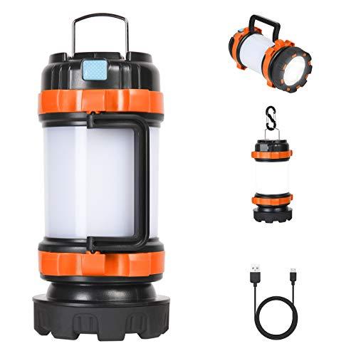 flintronic Lanterne LED Rechargeable, 1000 Lumens Lampe Camping, Lampe Camping Projecteur Portable, Ultra Puissante, Lampe de Camping 6 Modes, Câble USB Inclus, IPX4 Étanche, [Classe énergétique A+]
