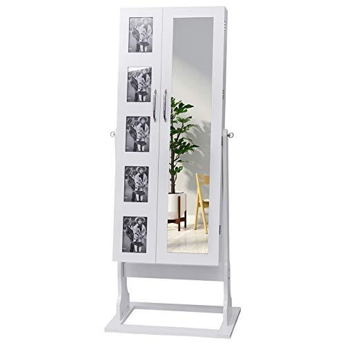 WOLTU MB0005ws XXL Spiegel Schmuckschrank mit Doppeltür und Fotorahmen Standspiegel Schmuckregal Spiegelschrank Schmuckkasten, Winkel Einstellbar, mit Magnetverschluss, Weiß, ca. 151 x 60 x 40 cm