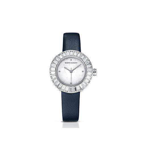 Reloj Ángel con cristales blancos correa azul y esfera blanco Roberto Giannotti ant21