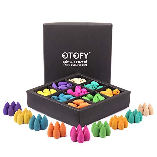 OTOFY Backflow Incense Cones 180 Pcs of 100% Natural Handwork Scents Waterfall Incense Rose Tulip Jasmine Lavender Rose for Backflow Incense Burner Holder Natural | Meditation & Yoga Gift(Pure Black)