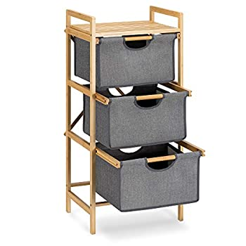 Navaris Basket Storage Drawers Unit - 3-Tier Bathroom Dresser Tower Organizer with Bamboo Frame and Pull-Out Fabric Baskets - 37.8  x 17.3  x 13