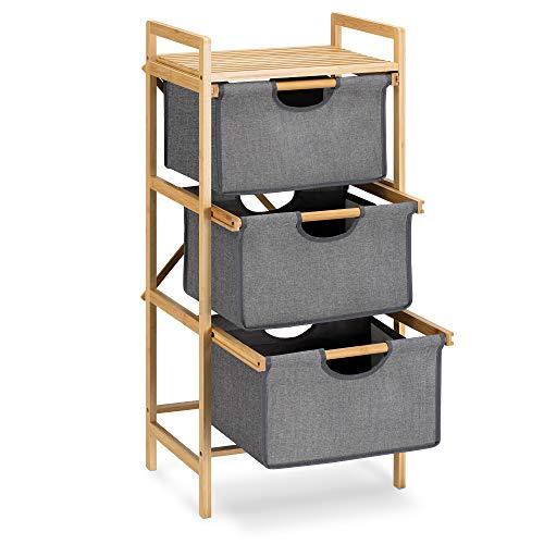 Navaris Estantería con cestas extraíbles - Mueble de baño con 3X cesto para Ropa Sucia - Armario de bambú con Cesta para organización de Colada