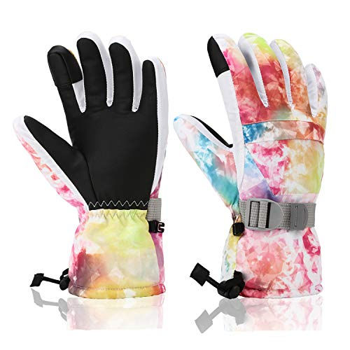Ski Gloves, Yidomto Winter Waterproof Warm Touchscreen Snow Gloves Mens, Womens, Boys, Girls, Kids (Colorful-S)