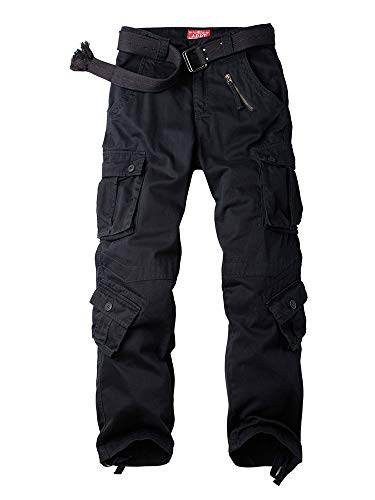Alfiudad Womens Cargo Pants with Pockets, Women's Casual Military Army Hiking Combat Tactical Work Pants Trousers,Black,28(US 6)