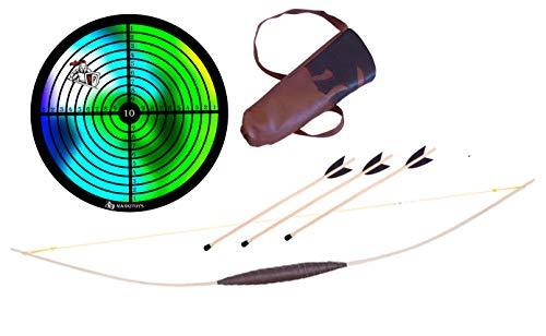 MankiToys El juego de arco infantil contiene arco infantil de madera de 120 cm, 100 cm o 80 cm con carcaj, 3 flechas con garras y diana, arco para niños a partir de 5 años.