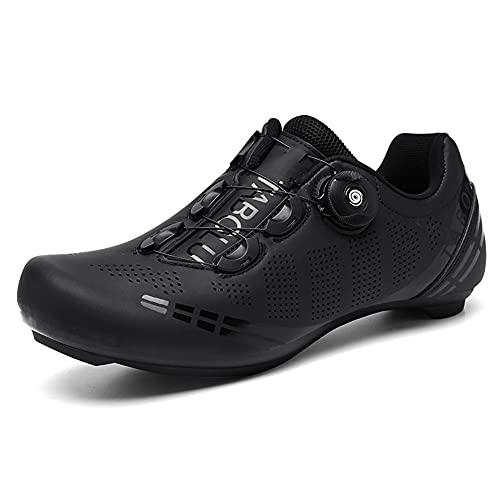 Zapatillas de Ciclismo para Bicicleta de Carretera para Hombre Antideslizante Transpirable Compatible con SPD y Delta Negro 275