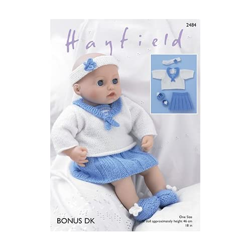 Bootees and Pants Knitting Pattern 2482 DK Hayfield Dolls Dress Bonnet