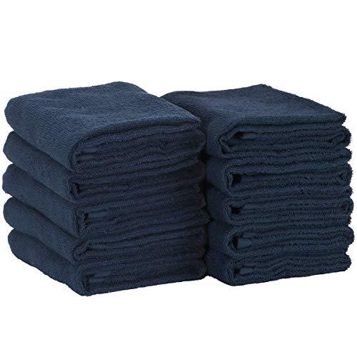 フェイスタオル 綿 100% 薄手 瞬間吸水 速乾 210匁 10枚セット 34cm×80cm ネイビー [ 業務用 タオル セット...