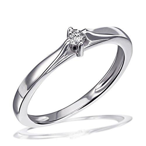 Goldmaid Damen-Ring Trauring, Freundschaftsring, Verlobung 925 Silber rhodiniert Diamant (0.07 ct) Brillantschliff weiß Gr. 52 (16.6) Verlobungsring Diamantring