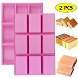 Palksky (2 PCS) 9 Cavity Large Rectangle Bars Silicone Mold/Mini Loaf Pan for Pudding Muffin Brownie Cornbread Cheesecake Chocolate Candy Nutrition Granola Cereal Bar Maker