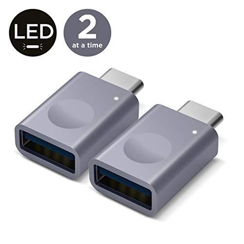 elago Micro Adattatore USB C a USB 3.0 con LED, adattatore Thunderbolt 3 a USB per MacBook Pro 2019/2018, MacBook Air 2019/2018, Pixel 3, Dell XPS, Altri dispositivi di tipo C - Grigio siderale[2Pack]