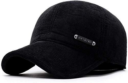 Jiushilun Sombreros Gorra de béisbol Hombre S Gorra de béisbol Invierno cálido Sombreros de papá Pana Panadería Rusia Sombreros Hueso Entallado Proteger-Negro A