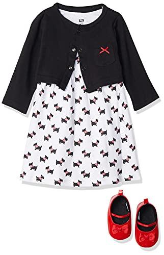 Hudson Baby Girls' Cotton Dress, Cardigan and Shoe Set, Scottie Dog, 12-18 Months