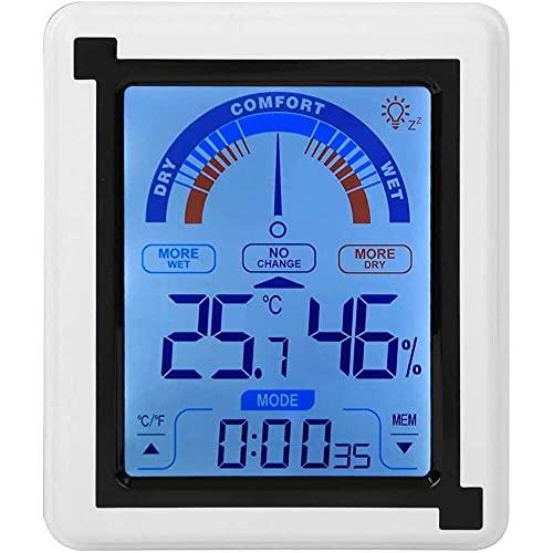 Yuyanshop Pantalla táctil LCD reloj meteorológico higrómetro digital termómetro interior humedad monitor higrómetro temperatura para dormitorio oficina