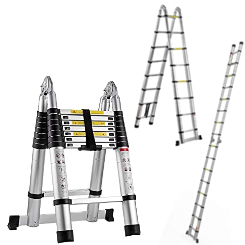 Pro Aluminum Telescoping Ladder 16.5 FT, Extension Ladder 2-in-1, Multi-Purpose Collapsible Ladders with Safety Spring Loaded Locking, A-Frame Lightweight Telescopic Compact Ladders for Easy Storage…