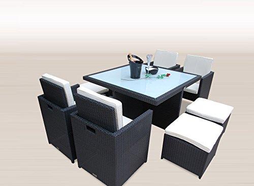 Ragnarök-Möbeldesign PolyRattan - DEUTSCHE Marke - EIGNENE Produktion - 8 Jahre GARANTIE auf UV-Beständigkeit Gartenmöbel Essgruppe Tisch + 4 Stühle & 4 Hocker 12 Polster Schwarz - 3