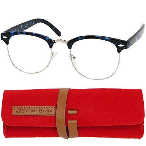 Vintage Lesebrille mit großen runden Gläsern - mit GRATIS Brillenetui, Metall Rahmen und Kunststoff Brillenbügel (Leopard Blau), Lesehilfe für Damen und Herren +1.5 Dioptrien