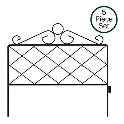 Pure Garden 50-LG5059 Metal Garden Fencing-Set of 5 Panels, Black