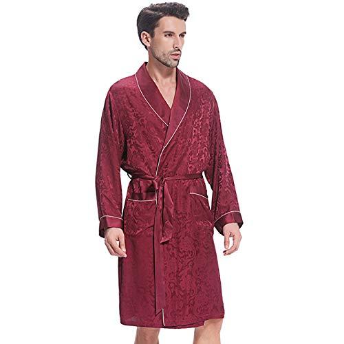 LZJDS Herren Nachtwäsche Nachthemd 100{72be475e8eae8e0b0f4d7df2120dcc08a878be586afb9175ca328c8451645c96} Seide Pyjama Langarm Fashion Home Service Bademantel,Sauce Purple,XXL