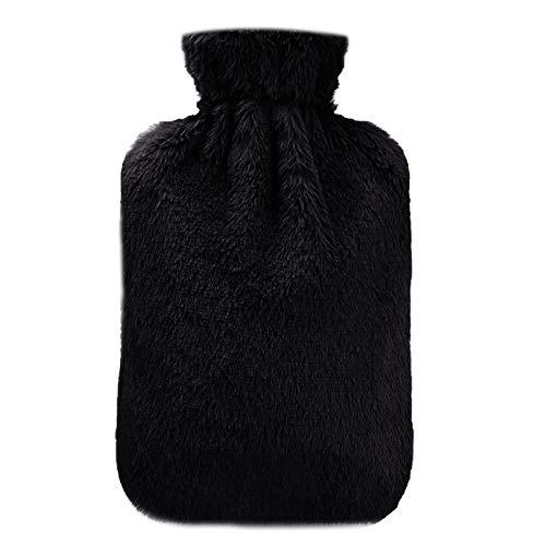 Wärmflasche, opamoo Wärmflaschen 2 Liter mit Super Weichem Langlebig und Sicher Hot Water Bottle Bietet Warme und Komfort Bettflasche für Bauch Rücken und Nacken - Schwarz