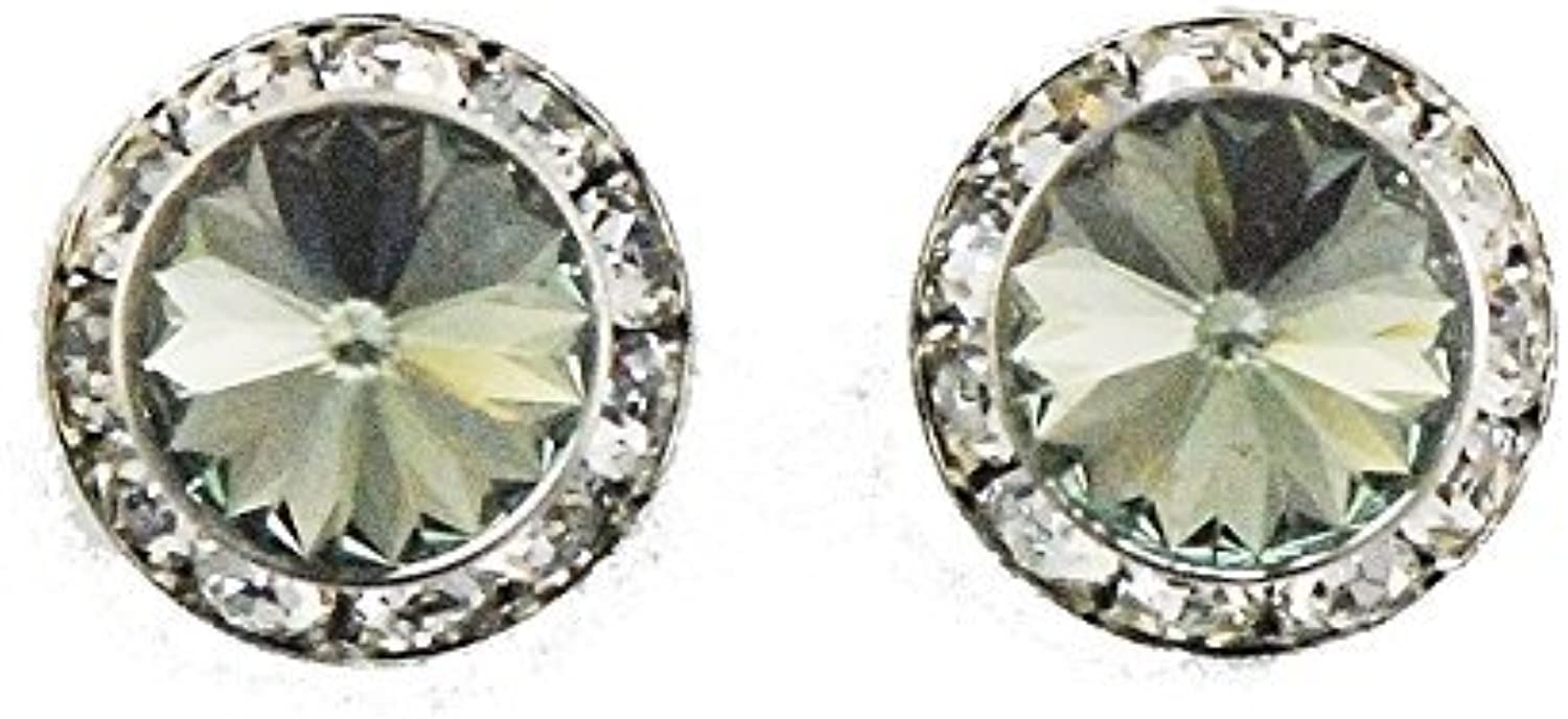 Finishing Touch Large Crystal Stone Show Earrings Black Diamond  Silver Finish