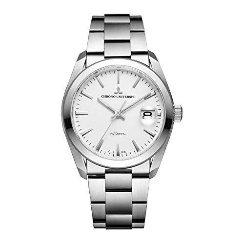 orologio automatic CHRONO UNIVERSEL Commandant quadrante bianco, bracciale in acciaio, vetro zaffiro