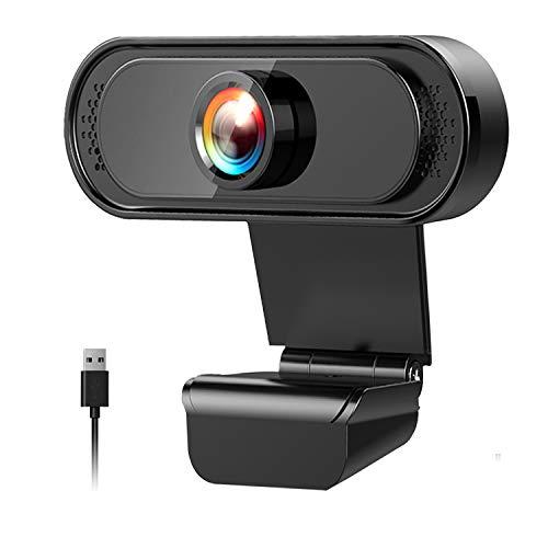 Yummici Webcam PC Full HD 1080P con Micrófono,Web CAM, autofoco portátil Webcam,Webcam USB 2.0 Mini Plug and Play videollamada,Grabación, Conferencias