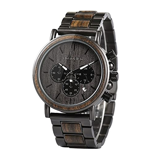 BOBO BIRD Mens Wooden Watches Business Casual Wristwatches Stylish Ebony Wood &...