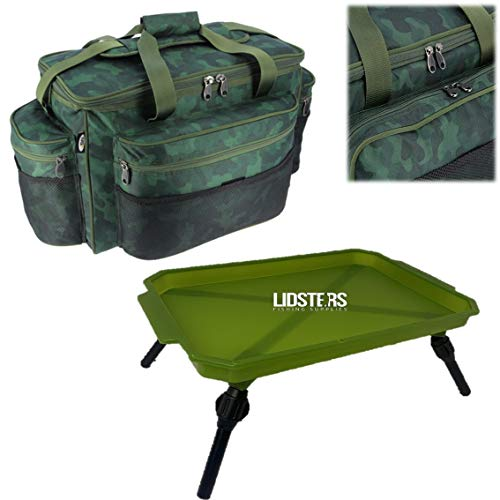 NGT CAMO 093C Tackle Bag Holdall Carp Fishing + Green Lidsters Bivvy Table