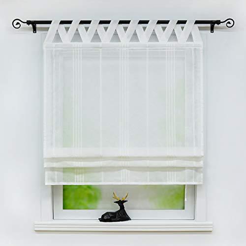 Joyswahl Raffrollo halbtransparentes Unifarbiges Bändchenrollo mit Längsstreifen »Thea« Schals mit Schlaufen Fenster Vorhänge BxH 80x140cm Weiß 1er Pack