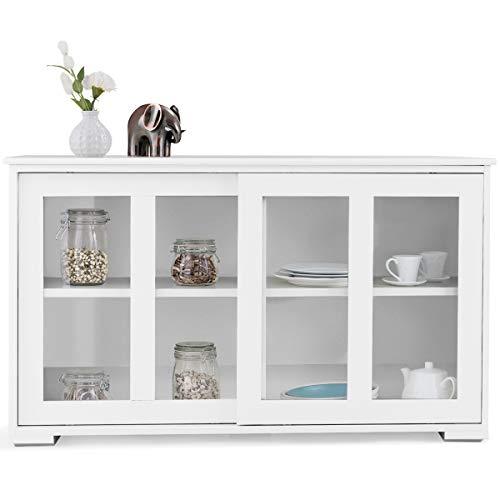 DREAMADE Küchenschrank mit Glastüren, Küchenregal Holz Wohnzimmerschrank, Küchenkommode mit Schiebtüren, Unterschrank Flurschrank (Weiß)