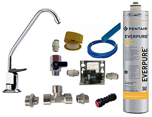 Termoidraulica RV Everpure - Kit de instalación para debajo del lavabo con grifo de 1 vía, cabezal Ql2b y filtro Everpure 4C