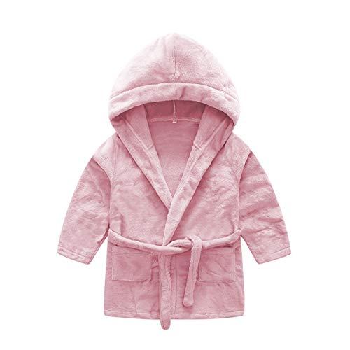 DEBAIJIA Kinder Bademantel 0-14T Säugling Morgenmantel Baby Hausmantel Kleinkind Handtuch Robe Nachthemd Junge Mädchen Unisex (Dunkelrosa-66)