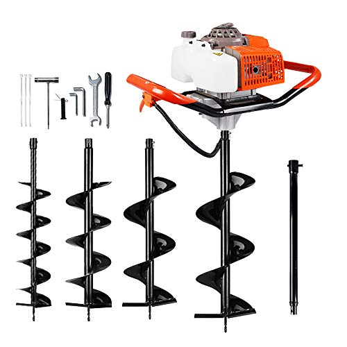 ECO LLC Hand-Held Gas Powered Post Hole Digger, 63cc, 3 hp, With Auger Combo - choose up to 4! (4