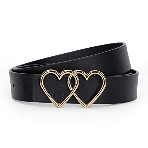 WERFORU Women heart belt Leather Belt Heart-shaped with 2 Golden Hearts Buckle for Women, Young Girls, Students Jeans Shorts Pants Ladies Dress, Suit for Pants Size 40-44 Inches,Black
