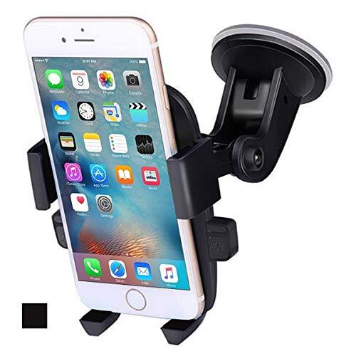 DSJSP Soporte de coche para parabrisas con rotación de 360 grados, ajustable libremente para iPhone X/8/7/6S/6 Plus Samsung Galaxy S8/S7 edge Universal Phone Phone Phone Phone Holder (color negro)