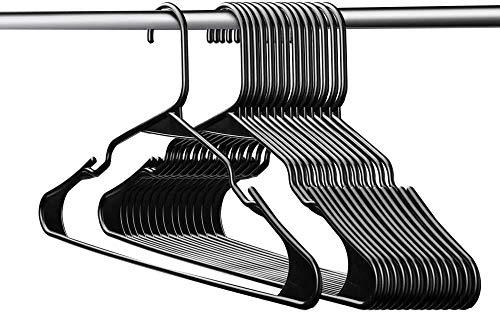 Switory Kleiderbügel Schwarz Platzsparende Plastik 50Stück Rockbügel D0.6cm L42cm