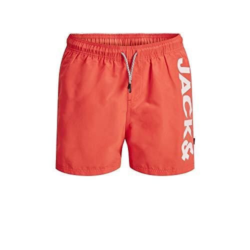 Jack & Jones Junior Jungen JJIARUBA JJSWIMSHORTS AKM Jones JR NOOS Badehose, Hot Coral, 140