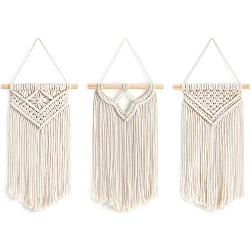 Mkono Small Macrame Wall Hanging, 3 Pack Art Woven Wall Decor Boho Chic Home Decoration for Apartment Bedroom Living Room Gallery, 8' Wx 14' L