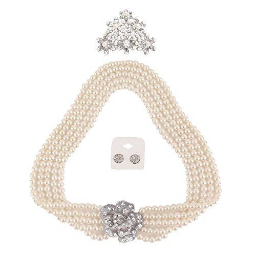 Utopiat Audrey Style Pearl Jewelry Flapper Costume Set da 3 Pezzi per Ragazze Ispirato alle Bat (7+ Anni)