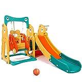 Aneken Toddler Climber and Swing Set, 5 in 1 Slide and Swing Set for Toddlers Climber Slide Playset with Basketball Hoop, Extra Long Slide and Ball, Easy Set Up Baby Slide for Indoor & Outdoor