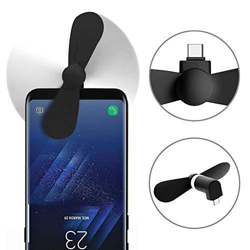 subtel© Handyventilator leise klein USB -C für Handy, Smartphone, Tablet, mit OTG on-The-go | USB-Ventilator, Mini-Ventilator, Handy-Ventilator, Hand-Ventilator Fan schwarz biegsam Doppelblatt