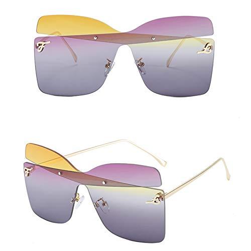 KHXJYC Mode Randlose Sonnenbrille Frauen, Big Metal Frame Brille Catwalk Sonnenbrille, Farblich Abgestimmte Bogen Brille,#5