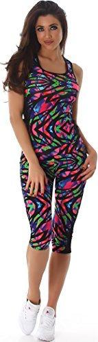 Jela London Damen Sportleggings in Capri-Form (3/4) und Sporttop ALS Fitness-Set | 2teiler Sportshirt und Sporthose Trainingsanzug Sport-Outfit Lauf-Outfit (Bunt 43, L bis XL)