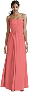 Long Strapless Chiffon Bridesmaid Dress with Pleated Bodice Style F15555